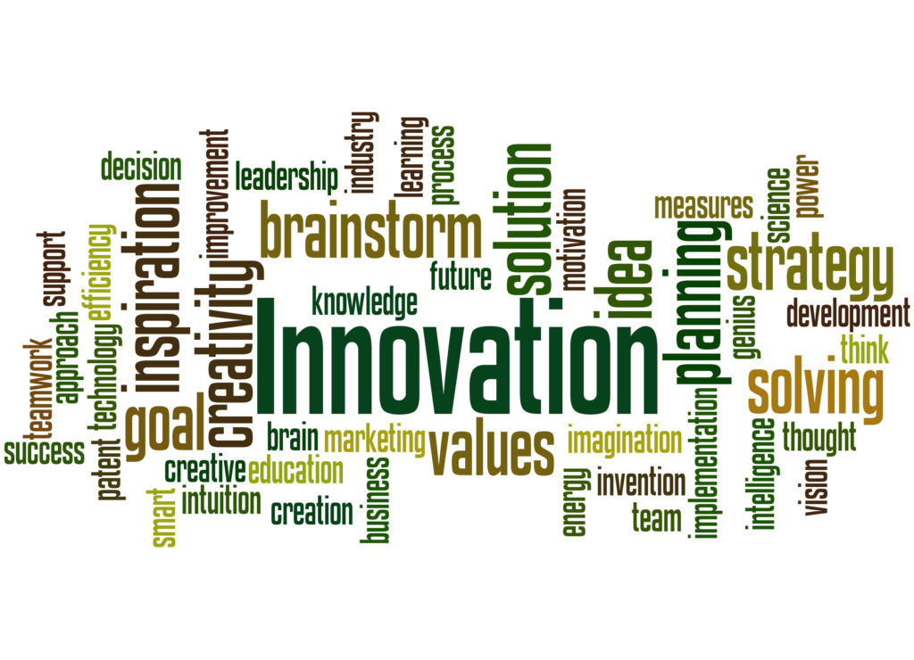 Innovation, word cloud concept on white background.